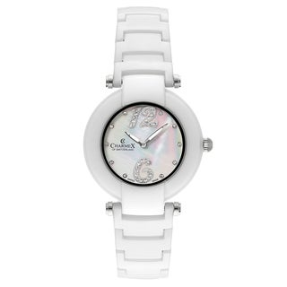 Charmex Dynasty White Ceramic Strap with Mother-of-Pearl Dial Women's Watch