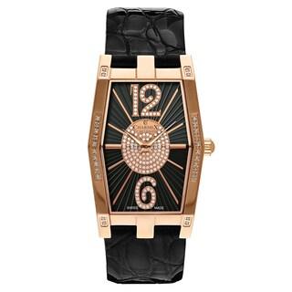 Charmex Nizza Black Leather Women's Watch