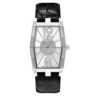 Charmex Women's Nizza 6080 Black Strap with White Dial Leather Watch