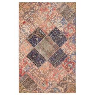 Herat Oriental Pak Persian Hand-knotted Patchwork Wool Rug (4'11 x 7'9)