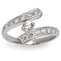 Sterling Silver Statement Cubic Zirconia Body Art Adjustable Toe Ring