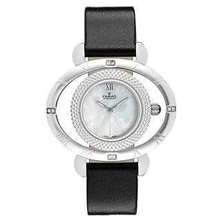 Charmex Women's Florence 6196 Black Strap with White Mother-of-Pearl Dial Leather Watch