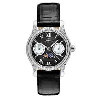 Charmex Women's Granada 6217 Black Leather Strap with Black Mother-of-pearl Dial Watch