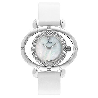 Charmex Florence Women's 6195 White Strap with White Mother-of-Pearl Dial Leather Watch