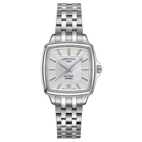 Certina Women's DS Prime Silver Strap with White Mother-of-pearl and Silver Dial Stainless-steel Watch