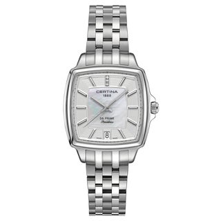 Certina Women's DS Prime C028-310-11-116-00 Silver Strap with White Mother-of-pearl and Silver Dial Stainless-steel Watch