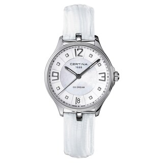 Certina Women's DS Dream C021-210-16-116-00 White Strap with White Mother-of-pearl and Silver Dial Leather Watch