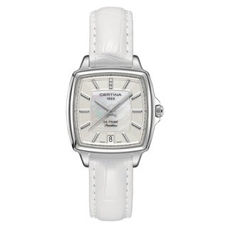 Certina Women's DS Prime C028-310-16-116-00 White Strap with White Mother-of-Pearl and Silver Dial Leather Watch