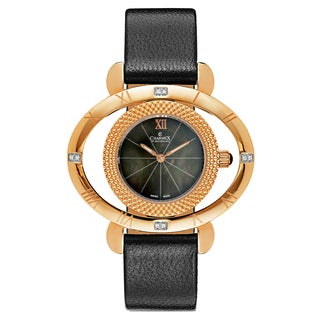 Charmex Women's Florence 6187 Black Strap with Black Mother-of-Pearl Dial Leather Watch