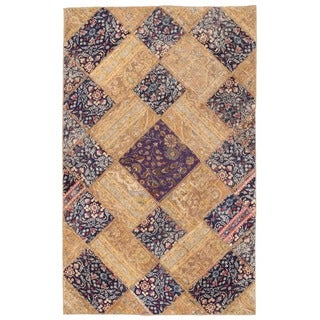 Herat Oriental Pak Persian Hand-knotted Patchwork Wool Rug (4'10 x 7'8)