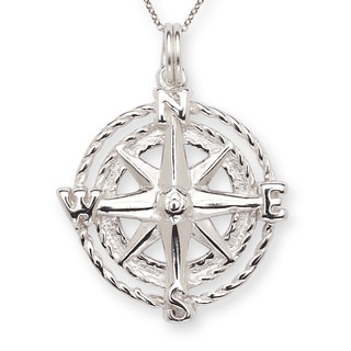 Sterling-silver 16-inch Star Compass Charm Pendant Necklace