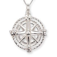Sterling-silver 16-inch Star Compass Charm Pendant Necklace - White