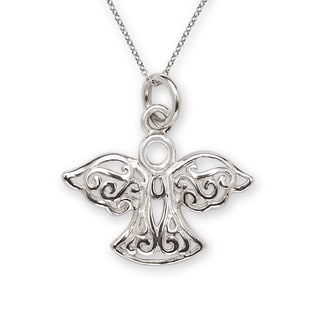 Sterling-silver 16-inch Intricate Angel Charm Pendant Necklace