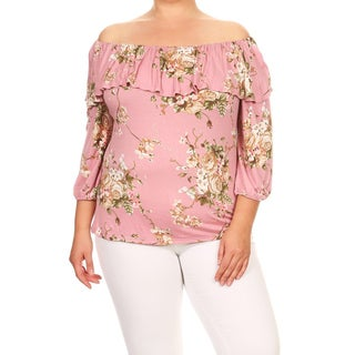 Women's Plus Size Floral Ruffled Flounce Tunic