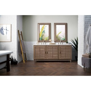"Portland 72"" Double Vanity, White Washed Walnut"