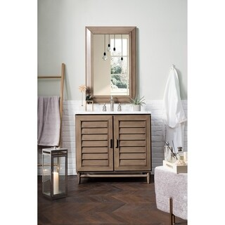 "Portland 36"" Single Vanity, White Washed Walnut"