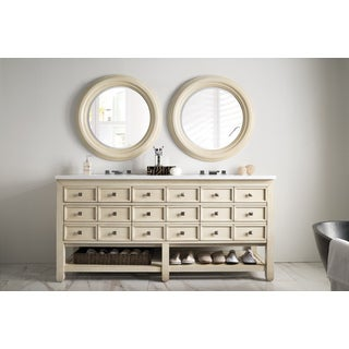 Victoria 69-inch Snow White Quartz Top Vanilla Oak Double Vanity