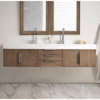 Mercer Island 72-inch Bright White Top Latte Oak Double Vanity