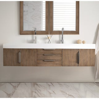 Mercer Island 72-inch Bright White Top Latte Oak Double Vanity