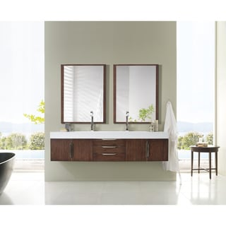 Mercer Island 72-inch Bright White Top Coffee Oak Floating Double Vanity