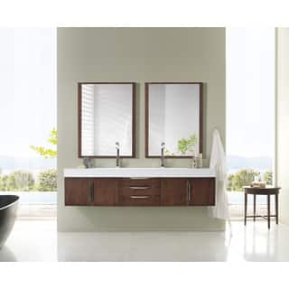 Mercer Island 72 Inch Bright White Top Coffee Oak Floating Double Vanity