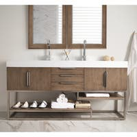 Columbia 72-inch Bright White Top Latte Oak Double Vanity