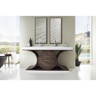 Oasis 72-inch Bright White Top Ash Circular Double Vanity