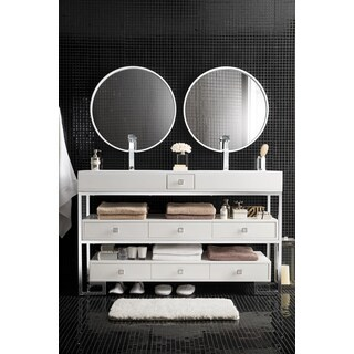Bel Air 59-inch Bright White Top Stainless Steel Lacquered Double Vanity