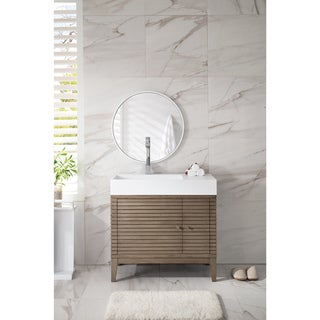 Linear 36-inch Matte White Top Walnut Single Vanity