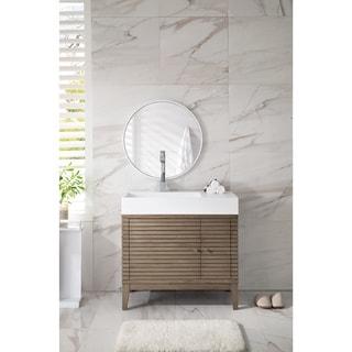 Linear 36 Inch Bright White Top Walnut Single Vanity