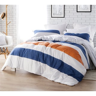 BYB 'Blue Crush' Blue, Orange, and White Striped Cotton Comforter