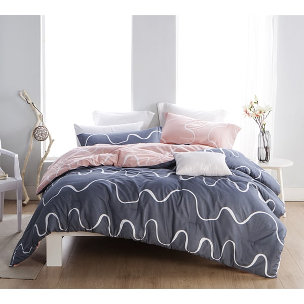 shop byb curious grey and pink cotton comforter shams not included on sale free shipping. Black Bedroom Furniture Sets. Home Design Ideas