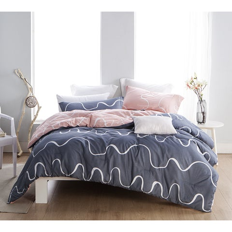 BYB Curious Grey and Pink Cotton Comforter (Shams Not Included)