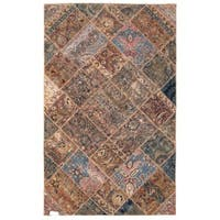 Herat Oriental Pak Persian Hand-knotted Patchwork Wool Rug (4'10 x 7'9) - 4'10 x 7'9