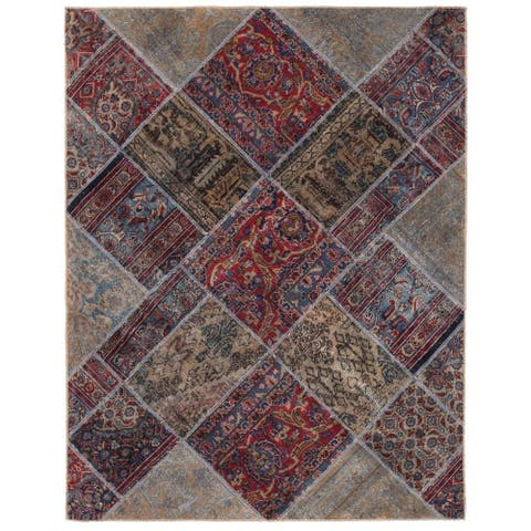 Handmade One-of-a-Kind Patchwork Wool Rug (Pakistan) - 4'11 x 6'3