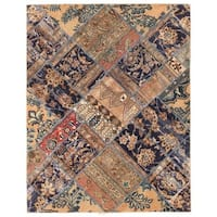 Herat Oriental Pak Persian Hand-knotted Patchwork Wool Rug (4'11 x 6'4) - 4'11 x 6'4