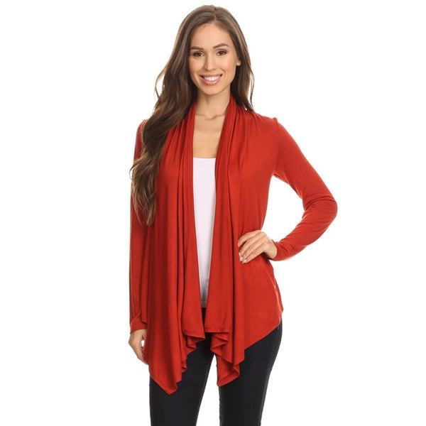 Women's Rust Color Draped Open Cardigan - Free Shipping On Orders ...