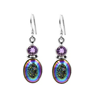 Sterling Silver Green Titanium Druzy with Amethyst Earrings
