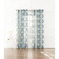 Caspian No. 918 Crushed Voile with a Geometric Watercolor Print Curtain Panel