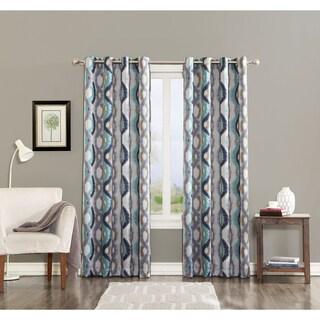 Sun Zero Cortez Watercolor Print Room Darkening Grommet Curtain Panel