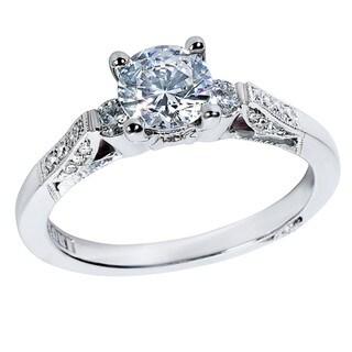 Tacori Platinum 1/5ct TDW Diamond and Cubic Zirconia Engagement Ring (G-H, VS1-VS2)