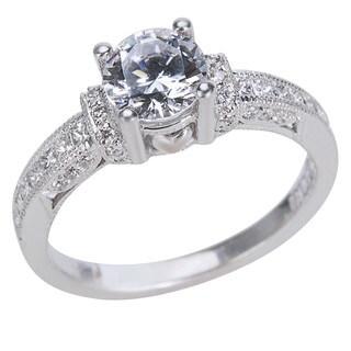 Tacori 18k White Gold 2/5ct TDW Diamond and Cubic Zirconia Engagement Ring (G-H, VS1-VS2)