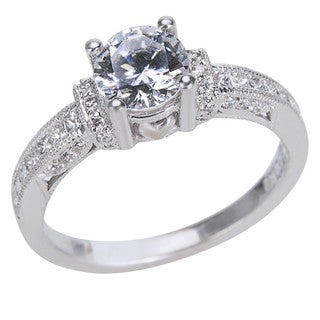 Tacori 18k White Gold 2/5ct TDW Diamond and Cubic Zirconia Engagement Ring