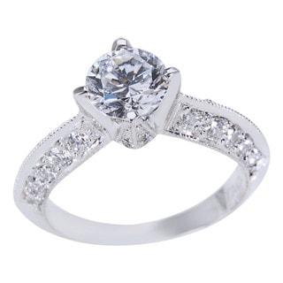 BRAND NEW Tacori Platinum 3/4ct TDW Diamond Engagement Ring with CZ Center (G-H, VS1-VS2)
