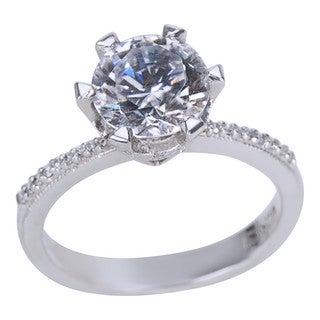 Tacori Platinum 1/5ct TDW Diamond and Cubic Zirconia Center Engagement Ring