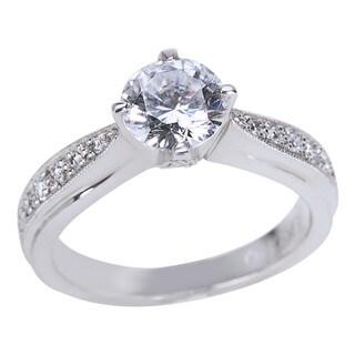 Tacori Platinum 1/5ct TDW Diamond and Cubic Zirconia Engagement Ring