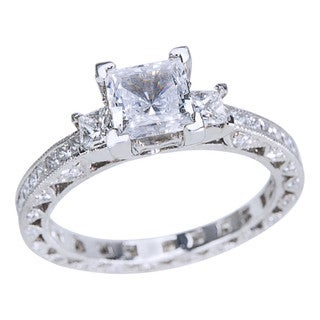 Tacori Platinum 1 1/6ct TDW Diamond and Cubic Zirconia Center 3-Stone Engagement Ring
