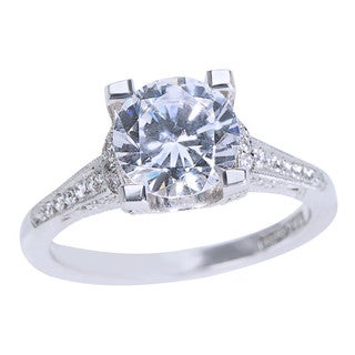 Tacori Platinum 1/5ct TDW Diamond and Cubic Zirconia Engagement Ring (G-H, VS1-VS2)