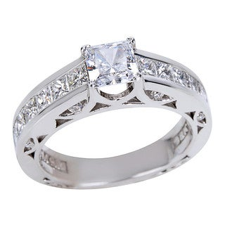 Tacori 18k White Gold 1 1/5ct TDW Diamond and Cubic Zirconia Channel Engagement Ring