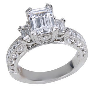 Tacori Platinum 1 1/6ct TDW Diamond and Cubic Zirconia Center Engagement Ring